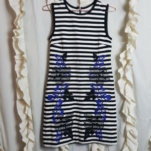 Juicy Couture Stripe Floral Embroidered Tank Dress